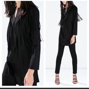 Zara black faux suede fringe tunic